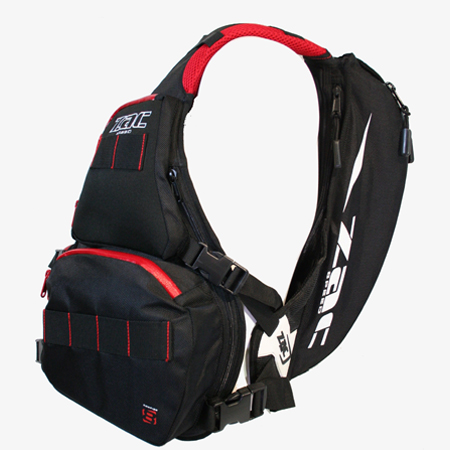 The Unique application of the quad load harness system allows the backpack to be fully loaded and still maintain a balanced position by reducing the pendulum effect. This stops the vest riding up the chest of the user and distributes the weight evenly over the entire system, reducing the load effect and freeing up shoulder movement. The vertical stabilizer straps act as a cantilever, keeping everything where it should be over the roughest terrain.
